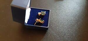 Beautiful emerald earrings, 14K yellow gold plated silver, EUC