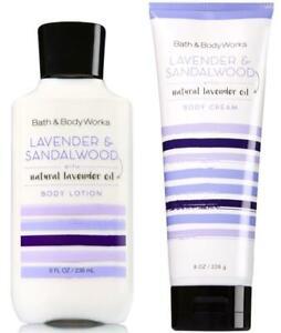 Bath & Body Works LAVENDER SANDALWOOD Body Cream + Lotion 2 PC SET NEW