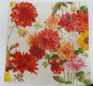 """3 Paper Napkin For Decoupage Floral Dahlias 10 x 10"""""""