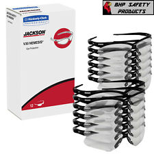 (12 PAIR) JACKSON NEMESIS SAFETY GLASSES BLACK FRAME/CLEAR LENS 25676 GUN RANGE