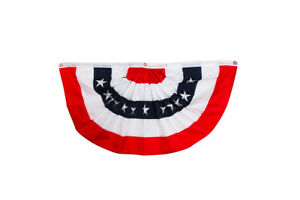"""Patriotic Bunting USA 48"""" x 24"""" Pleated Banner with Grommets Briarwood Lane"""