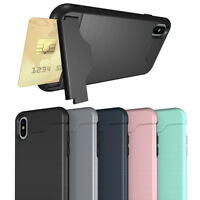 Shockproof Kickstand Card Holder Hybrid Wallet Case Armor Cover for iPhone X/10