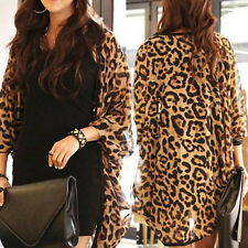 Fashion Women's Clothes Women Coat Women Top Shawl Leopard Print Batwing Sleeve
