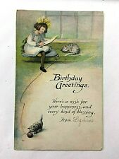 """Antique 1907-15 """"Birthday Greeting Here's a wish for your happiness.... """" PC"""