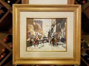 """Framed Acrylic on Canvas """"Green Ave - Montreal"""" - Serge Brunoni"""
