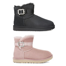 UGG Women's Boots UGG Mini Side Brooch Crystal Bling - Black/Pink