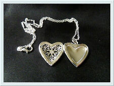 Gorgeous Locket Necklace,Christmas Gift,Fashion,Heart,Silver Plated,Hollow