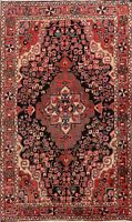 Excellent Vintage Floral Hamedan Hand-Knotted Area Rug Wool Oriental Carpet 4x7