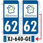 62 PAS DE CALAIS / 2 STICKERS HAUT DE FRANCE PLAQUE IMMATRICULATION DEPARTEMENT