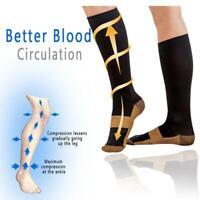 Men's Women's S-L Copper Infused Compression Socks 20-30mmHg Graduated O0M2