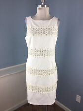 Ann taylor M 10 White Dress Sleevelelss Embroidered Career Cocktail EUC panel
