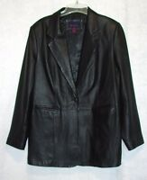 "Womens Size Large Chest 38-40"" Denim & Co. Black Leather Coat Jacket Lined"