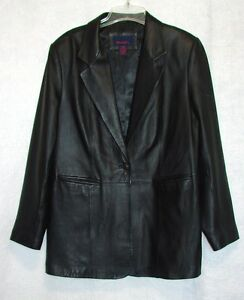 "Womens Size Large Chest 38-40"" Denim & Co. Black Leather Coat Jacket Lined"