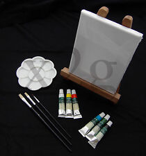 Painting Material Set, Canvas, Easel, 6 Paints, 3 Brush