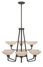 Western Bronze 9 Light Chandelier With White Etched Glass