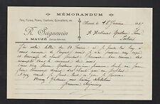 """MAUZE (79) FER FONTE CHARBON QUINCAILLERIE """"R. SEIGNEURIN"""" en 1915"""