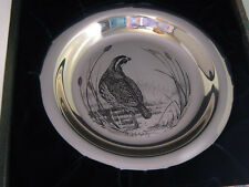 FRANKLIN MINT BOBWHITE SOLID STERLING SILVER ROUND COLLECTOR PLATE GAME BIRD