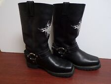Harley Davidson Mens Black Leather Casual Biker Motorcycle Boots Shoes Size 7