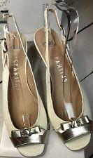 HISPANITAS marfil y oro de Cuero Peep Toe Tacón Zapatos Size Uk 8 EU 41