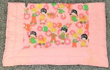 """Baby Quilt Machine Quilted 33"""" x 42"""" Pink White Balloons Baby Carriages"""