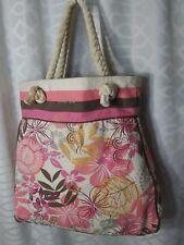 AEROPOSTALE women tote bag canvas Floral 16x4x14 zipper inside pouch brown liner
