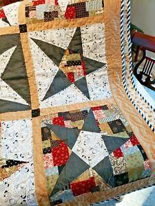 Patchwork Handmade Lap Quilt Chickens Stars Brown Black White Farm Theme