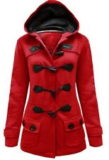 LADIES  BUTTON TOGGLE Red  DUFFLE TRENCH POCKET HOODED JACKET COAT SIZE 8 to 14
