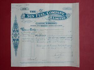 share certificate 1921 The Sun Fuel Ltd #1636
