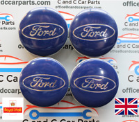 Ford Alloy Wheel Centre Caps  x4 Focus Mondeo Fiesta Fusion Max Galaxy Blue 54mm