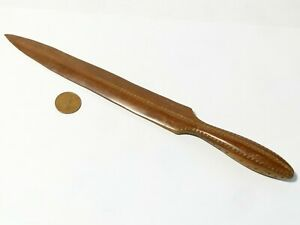 """Vintage Wood Carved Letter Opener Paper Knife ZIG-ZAG Carved Decoration 10"""""""