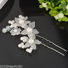 New Bride Flower Hair Pin Wedding Party Jewelry Accessory Lovely Pearl