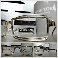 Mens CONTEMPORARY MODERN Style Clear Lens EYE GLASSES Sleek Silver Fashion Frame