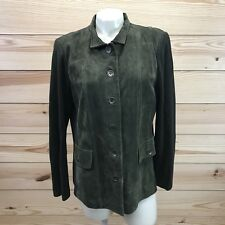 Linea Louis Dell'Olio Jacket 14 Green Suede Stretch Ribbed Knit Sides Pocket B73