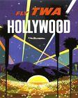 "Vintage Illustrated Travel Poster CANVAS PRINT TWA Hollywood California 16""X12"""