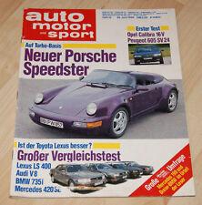 AMS 14/1990 Porsche Speedster, Mercedes 420 SE, BMW 735i, Lexus LS 400, Audi V8