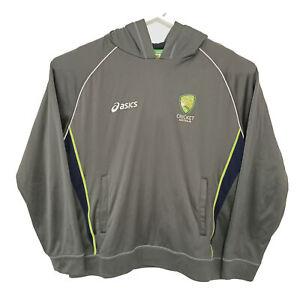 Acics Australian Cricket Team Mens Hooded Jumper Size XL Grey Sweater Official
