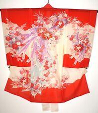 Super Vintage Ro De Seda Sintética Girl's Furisode ceremonial Kimono pavos reales Flores
