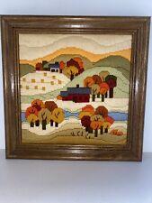 Hills Trees Vintage Needlepoint Completed Framed Nice Mid Century
