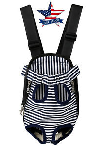 Small Pet Cat Puppy Dog Carrier Front Pack Hiking Backpack Head Legs Out Stripe