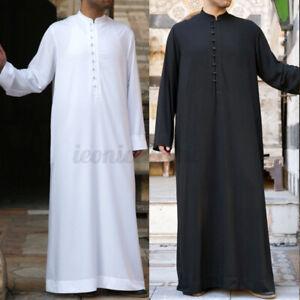 Mens MIddle East Saudi Arab Long Sleeve Thobe Islamic Jubba Kaftan Long Robe NEW