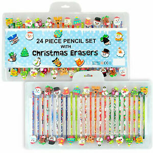 24 Quality Children Kids Funky Pencils with Funky Erasers Animal Stationary Set