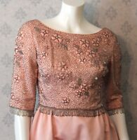 Vintage 1960s Pink Satin and Silver Beaded Victoria Royal Ltd. Long Gown