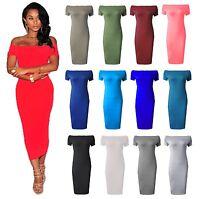 Womens Ladies  Off The Shoulder Long Midi Dress Stretch Bardot Bodycon Plus Size