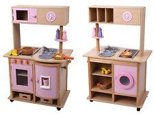 edle große Spielküche Küche aus Holz beidseitig mit Rollen viel Zubehör 268014