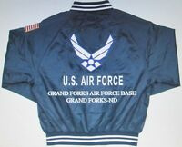 GRAND FORKS AIR FORCE BASE * AIR FORCE EMBROIDERED 2-SIDED SATIN JACKET
