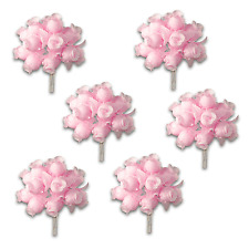 Craft Flowers QTY 72 - Poly Rosebuds - Pink/Pink