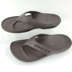 Crocs Flip-Flops Baya Flip Dark Brown Flip Flops Thong Foam Brown Womens 6