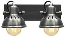 Vintage Twin Wall Light Dark Grey Pewter Finish Brooklyn Style Adjustable Swivel