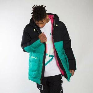 Men's Nike Air Jordan Down Fill Parka Jacket CK6661-011 Black Neptune Green Pink