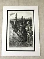 1856 Print Autumn Leaves Millais Victorian Pre Raphaelite Painting Antique